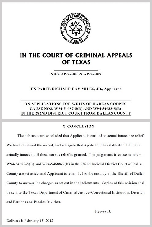 Richard Miles Exoneration Ruling Feb 15 2012