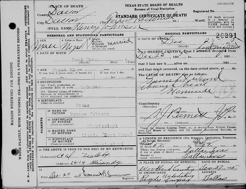 Death Certificate for Henry Johnson