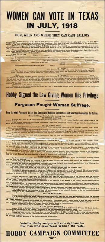 Flyer stating women can vote in Texas