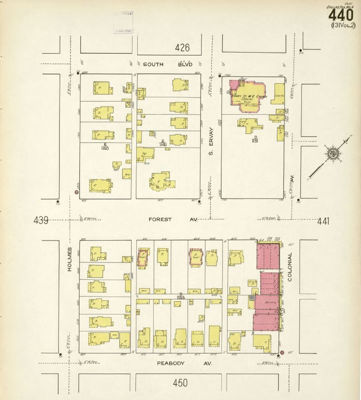 1922 Map of Colonial Ave., Dallas
