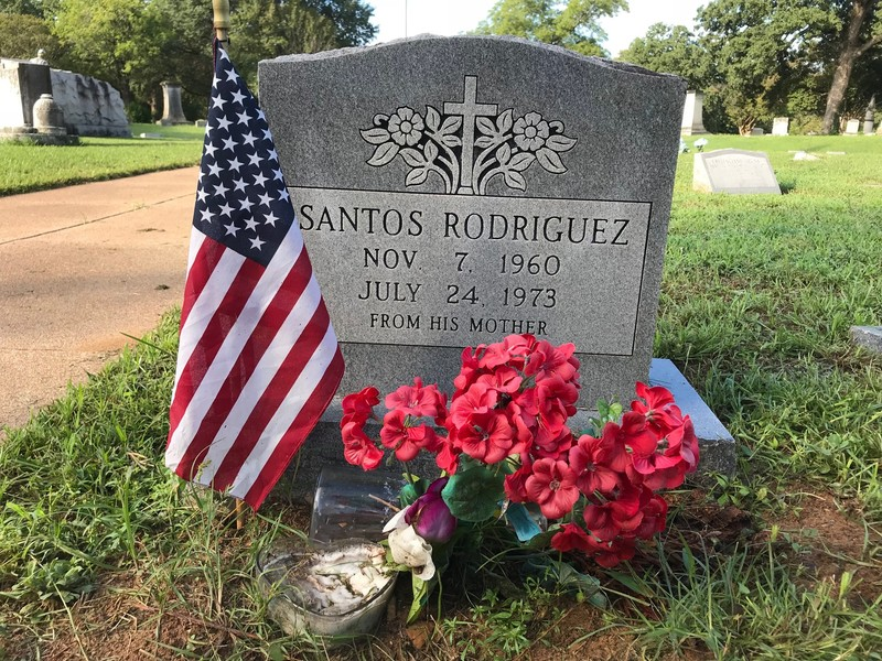 Headstone at Santos Rodriguez's grave